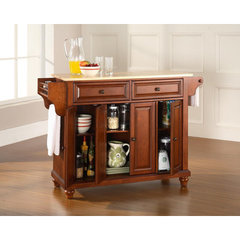 Buy Crosley Furniture Cambridge 52x18 Natural Wood Top Kitchen Island in Classic Cherry on sale online