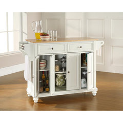 Buy Crosley Furniture Cambridge 52x18 Natural Wood Top Kitchen Island in White on sale online