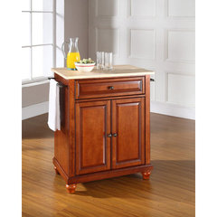 Buy Crosley Furniture Cambridge 28x18 Natural Wood Top Portable Kitchen Island in Classic Cherry on sale online