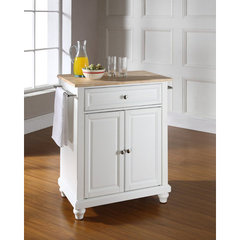 Buy Cambridge 28x18 Natural Wood Top Portable Kitchen Island in White on sale online