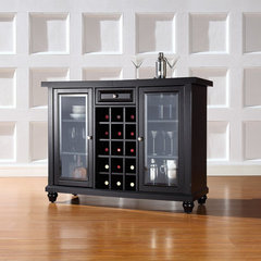 Buy Crosley Furniture Cambridge Sliding Top Bar Cabinet in Black on sale online