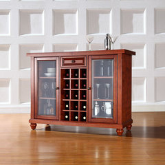 Buy Crosley Furniture Cambridge Sliding Top Bar Cabinet in Classic Cherry on sale online