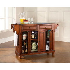 Buy Crosley Furniture Cambridge 52x18 Solid Black Granite Top Kitchen Island in Classic Cherry on sale online