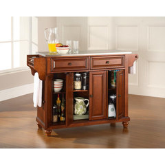 Buy Crosley Furniture Cambridge Stainless Steel Top Kitchen Island in Classic Cherry on sale online