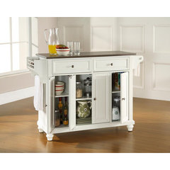 Buy Crosley Furniture Cambridge 52x18 Stainless Steel Top Kitchen Island in White on sale online