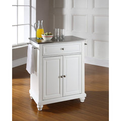 Buy Crosley Furniture Cambridge 28x18 Stainless Steel Top Portable Kitchen Island in White on sale online