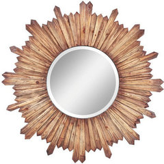 Buy Cooper Classics Catherine 36 Inch Round Mirror in Natural Rustic Wood on sale online