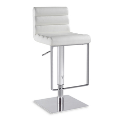 Buy Chintaly Imports 0813 Adjustable Height Swivel Stool w/ Pneumatic Gas Lift in White on sale online