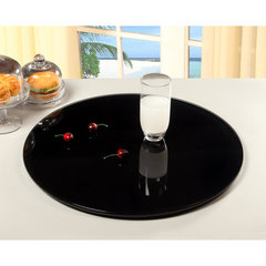 Buy Chintaly Imports 24 Inch Round Glass Rotating Tray in Black on sale online