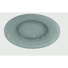Buy Chintaly Imports 24 Inch Round Gray Tinted Crackled Glass Lazy Susan on sale online