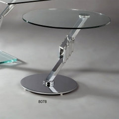 Buy Chintaly Imports 24 Inch Round Rutley Lamp Table w/ Chrome Metal Base on sale online