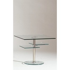 Buy Chintaly Imports 28x28 Square Westin Lamp Table in Chrome on sale online