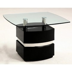 Buy Chintaly Imports Xenia 28 Inch Square Lamp Table in Gloss Black on sale online