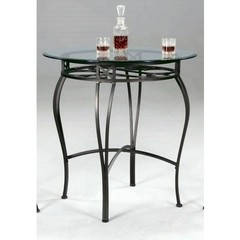 Buy Chintaly Imports 36x36 Round Pub Table w/ Glass Top in Dark Champagne on sale online