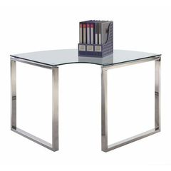 Buy Chintaly Imports 39x39 Corner Computer Desk w/ Glass Top on sale online