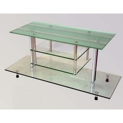 Buy Chintaly Imports 41 Inch Glass TV Stand w/ Frosted Top on sale online