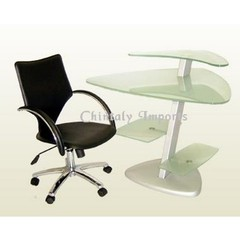 Buy Chintaly Imports 42x33 Frosted Glass Multi-Surface Computer Desk w/ Metal Supports on sale online
