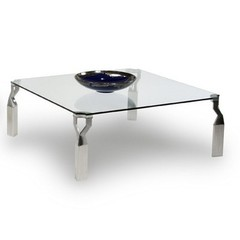 Buy Chintaly Imports Soraya 44 Inch Square Coffee Table in Chrome on sale online