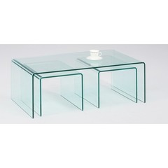 Buy Chintaly Imports 44x24 Nested Bent Glass Cocktail Table (Set of 3) on sale online