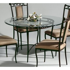 Buy Chintaly Imports 48 Inch Round Table w/ Glass Top in Autumn Rust on sale online