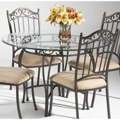 Buy Chintaly Imports 48 Inch Round Table w/ Glass Top in Taupe on sale online