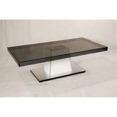 Buy Chintaly Imports Marina 55x28 Rectangular Coffee Table with Brushed Silver Base on sale online