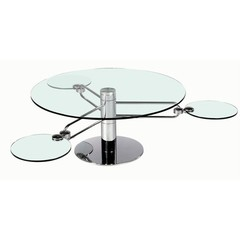 Buy Chintaly Imports 56 Inch Round Cocktail Table w/ Orbiting Accent Glass on sale online