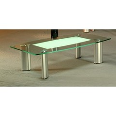 Buy Chintaly Imports 56x32 Rectangular Tracy Coffee Table in Brushed Silver on sale online