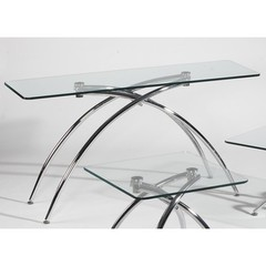 Buy Chintaly Imports Elaine 58x19 Rectangular Sofa Table w/Glass Top on sale online