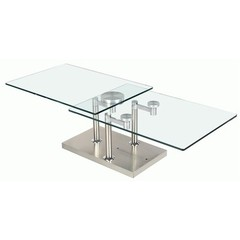 Buy Chintaly Imports 60x24 Two Top Rectangular Motion Glass Cocktail Table on sale online