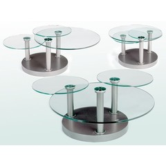 Buy Chintaly Imports 62 Inch Round Dustin Cocktail Table in Silver on sale online