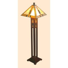 Buy Chintaly Imports 64 Inch Mission Floor Lamp w/ Solid Wood Base in Bronze on sale online