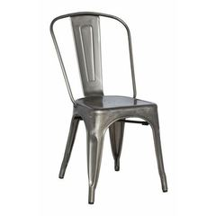 Buy Chintaly Imports Alfresco 34 Inch Cold Roll Steel Side Chair w/ Back in Grey on sale online