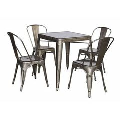 Buy Chintaly Imports Alfresco 5 Piece 31x31 Square Cold Roll Steel Dining Room Set in Grey on sale online