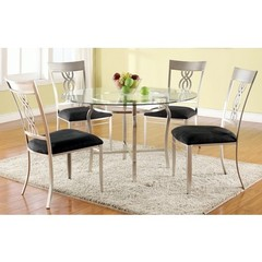 Buy Chintaly Imports Angelina 5 Piece 48 Inch Round Dining Table Set in Black on sale online