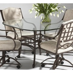 Buy Chintaly Imports Anita 48x48 Square Dining Table w/ Glass Top on sale online