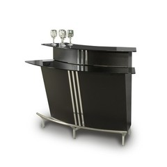 Buy Chintaly Imports Broadway 60x30 Bar in Black w/ Glass Top on sale online