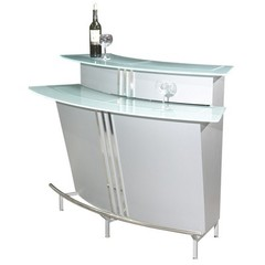 Buy Chintaly Imports Broadway 60x30 Bar in Silver w/ Frosted Glass Top on sale online