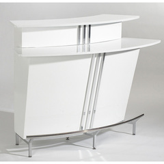 Buy Chintaly Imports Broadway 60x30 Bar in White w/ Glass Top on sale online