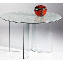Buy Chintaly Imports C Base 48 Inch Round Dining Table w/ Sandwich Glass Top on sale online