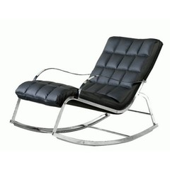 Buy Chintaly Imports Camry Bonded Leather Rocker Lounge Chair in Black on sale online