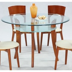 Buy Chintaly Imports Casey 47x47 Round Dining Table w/ Glass Top in Cherry on sale online
