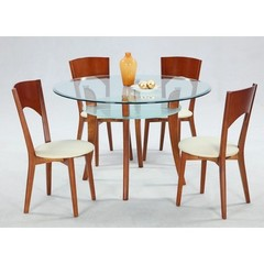 Buy Chintaly Imports Casey 5 Piece 47 Inch Round Dining Table Set in Cherry on sale online
