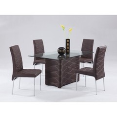 Buy Chintaly Imports Connie 5 Piece 59x35 Dining Table Set in Brown on sale online