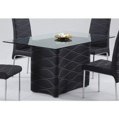 Buy Chintaly Imports Connie 59x35 Dining Table w/ Glass Top in Black on sale online