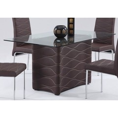 Buy Chintaly Imports Connie 59x35 Dining Table w/ Glass Top in Brown on sale online