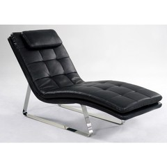 Buy Chintaly Imports Corvette Bonded Leather Chaise Lounge in Black on sale online