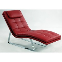 Buy Chintaly Imports Corvette Bonded Leather Chaise Lounge in Red on sale online