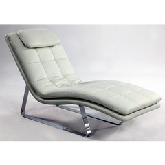 Buy Chintaly Imports Corvette Bonded Leather Chaise Lounge in White on sale online