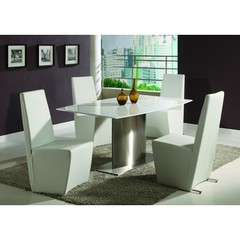 Buy Chintaly Imports Cynthia 5 Piece 66x40 Dining Table Set in White on sale online